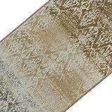 Vintage Teppichläufer | im angesagten Shabby Chic Look | hochwertige Meterware, gekettelt | Kurzflor Teppich Läufer | Küchenläufer, Flurläufer (Beige,80x400 cm)