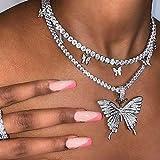 Unicra Mehrlagige Kristall-Halskette, Quaste, Schmetterling, Choker, Kette, Anhänger, Halsketten, Schmuck, Zubehör für Frauen