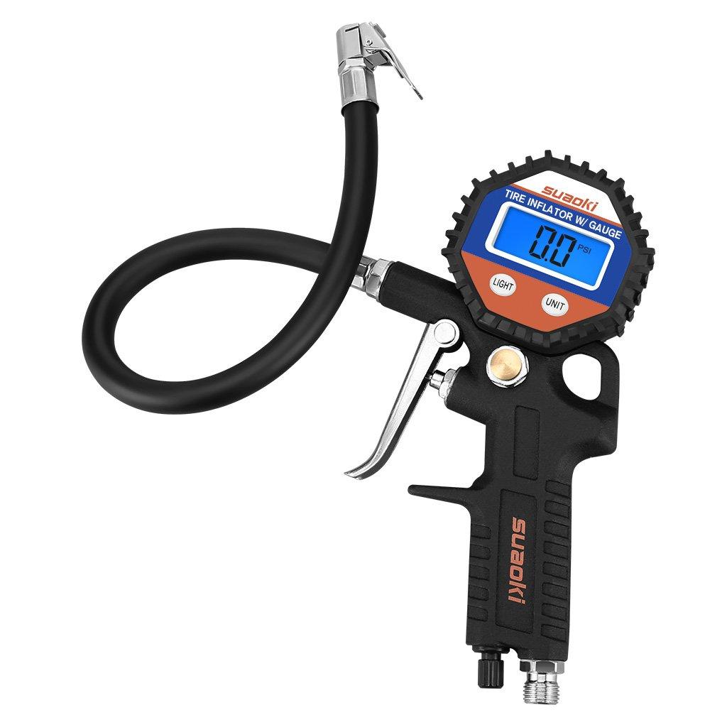 150 PSI Man/ómetro Digital Suaoki Medidor de Presi/ón de Neum/áticos con Manguera y Acoplador para Motocicleta Bcicleta y Coche
