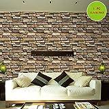 Tapeten Folie Selbstklebend NHsunray schöne edle Tapete im Steinwand Backsteinmauer Design moderne 3D Optik für Wohnzimmer, Schlafzimmer oder Küche inkl,45*200cm (1, Felstabletten)