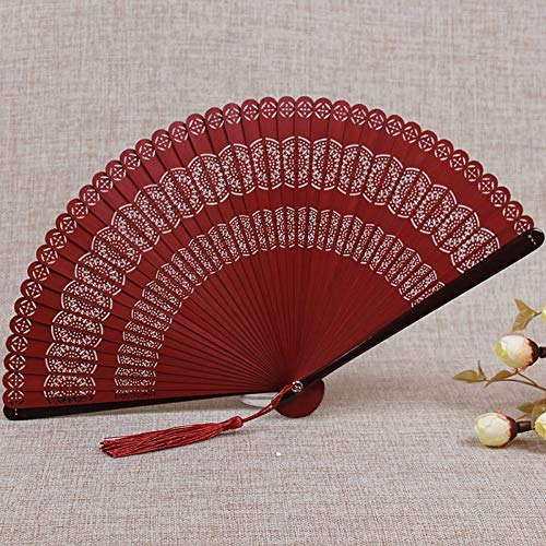 WANGYUJIN Folding Fan Chinese Style Bamboo Fan Carving Hollow Ancient Folding Fan Women's Japanese Craft Small Folding Fan Classical Wine Red Peacock Flower - Folding Red - Japanese Fan