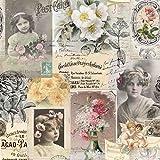 Provencestoffe.com Meterware Dekostoff, Rosenstoff, Shabby-Roses, Breite 160 cm, Baumwolle, Digitaldruck