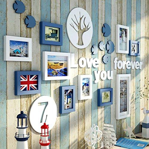 Global- 10 Multi Cadre Photo Ensemble Style Méditerranéen Bleu Et Blanc En Bois BRICOLAGE Photo Photo Mur Cadre Combinaison Escalier Peinture Décorative Enfants Chambre Décoration, 146 * 77 cm ( Couleur : #A )