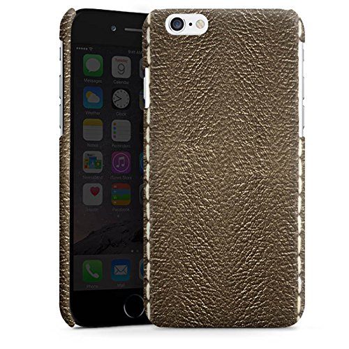 Apple iPhone 5s Housse étui coque protection Cuir marron Look Structure en cuir Cas Premium brillant