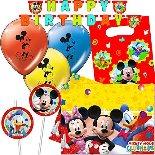 Procos/Carpeta 47-TLG. Party-Set * Micky Maus * für Kindergeburtstag & Mottoparty | mit Girlande + Tischdecke + Trinkhalme u.v.m. | Kinder Motto Disney Mickey Mouse