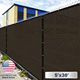 5' X 36' : Windscreen4less Heavy Duty Privacy Screen Fence In Color Brown With Black Strips 5' X 36' Brass Grommets W/3-Year Warranty 150 GSM (Customi