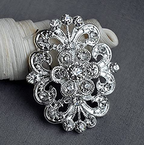 5 Rhinestone Button Embellishment Pearl Crystal Wedding Brooch Bouquet Invitation Cake Decoration Hair Comb Clip BT394 by Your Perfect Gifts