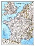 Affiche 'Carte de France, Belgique et des Pays-Bas', Taille: 59 x 77 cm...