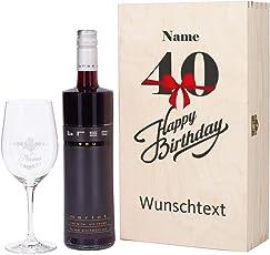 Herz & Heim® Bree Wein-Geschenk zum 40. Geburtstag mit graviertem Weinglas und Bree Wein zur Auswahl in Präsentbox