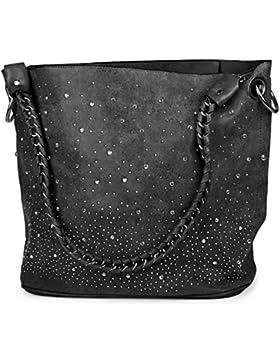 styleBREAKER Handtaschen Set mit Strass Applikation im Sternenhimmel Design, 2 Taschen 02012013
