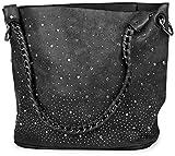 styleBREAKER Handtaschen Set mit Strassapplikation im Sternenhimmel Design, 2 Taschen 02012013, Farbe:Schwarz