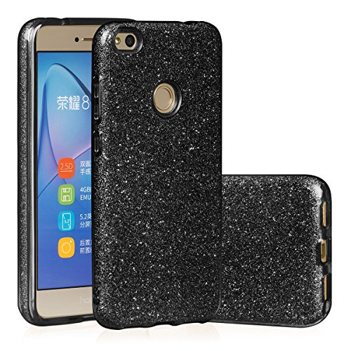 EGO ® Glitzer Schutzhülle für Huawei P9 Lite, Pink Back Case Bumper Glänzend Transparente TPU Bling Weiche Glamour Handy Cover Lipgloss Schwarz