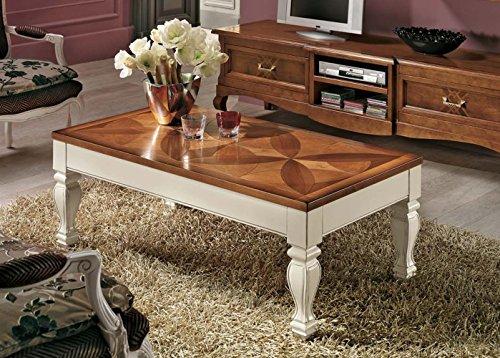 Table rectangulaire marqueterie trèfle avec plateau relevable