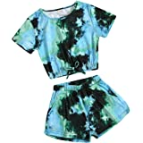 Little Girls Tie-Dye Clothes Round Collar Pullover Top+Pants 2Pcs Fall Winter Outfits 5-14Years