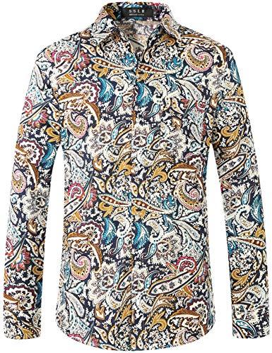 SSLR Herren Hemd Langarm Baumwolle Paisley Bedruckt Freizeithemd Langarmhemd Regular Fit Shirts (XX-Large, Blau(228-3))