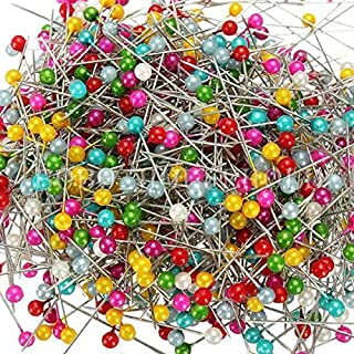 AUAUDATE Needlework Dressmaking Sewing Pearl Head Pin for Wedding Corsage Florists Mix Color 800 Pcs (Mix Color)