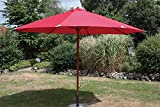Mercato ombrello 350cm 8sostegni rosso effetto teak