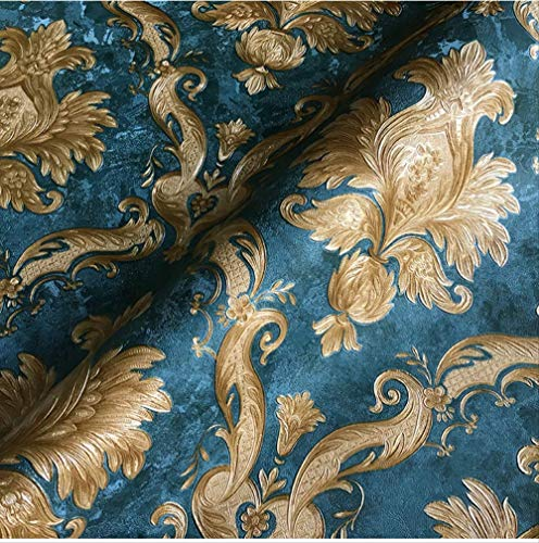 ASGJLH Vintage Classic Damast Tapetenrolle Metallic Sparkle Struktur Vinyl Tapeten Schlafzimmer Wohnzimmer Wohnkultur 10mx53cm WP68107 Blau - Blue Classic Wallpaper