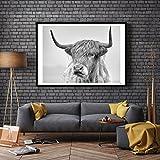 ZHOUBA Monochrome Kuh Hochformat Prints Poster Wall Art Malerei Bilder für Wohnzimmer Home Decor ohne Rahmen, canvas, schwarz/weiß, 40x50cm