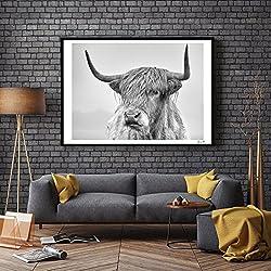 ZHOUBA Monochrome Kuh Hochformat Prints Poster Wall Art Malerei Bilder für Wohnzimmer Home Decor ohne Rahmen, canvas, schwarz/weiß, 50 x 70 cm