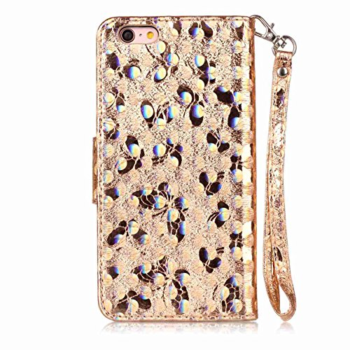 iPhone 6 Plus Leder Hülle,iPhone 6s Plus Glitzer Case,TOYYM Ultra Dünn Laser Muster Design Bling PU Leder Flip Cover Wallet Case mit Stand Funktion Karteninhaber Magnetverschluss,Folio Bookstyle Brief Gold