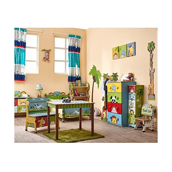Fantasy Fields - Sunny Safari themed Wooden Drawer Cubby with 3 Canvas Drawers |Hand Crafted & Hand Painted Toy Storage Unit Toybox | Child Friendly Water-based Paint Fantasy Fields By Teamson Colourful organised storage cabinet for those keepsakes, toys, games and nik naks. Dimensions 121.92 x 37.47 x 43.82. 3 canvas bags included Sturdy and free standing. Suitable for Kids Bedroom and Playroom enchancing your little ones organisational skills Teach your kids colour and character recognition and enhance their imaginative minds.  Great for encouraging children's independence 10