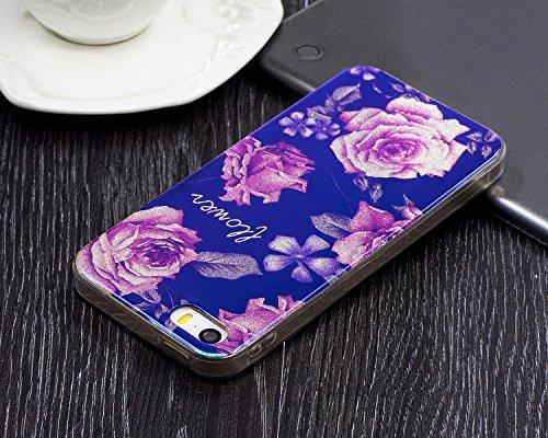 """iPhone 5s Hülle, Luxus Blau Kristall CLTPY iPhone SE Ultra Slim Dünn Weichsilikon Cover Bunt Retro Blumemuster Schutz-etui Stoßdämpfung & Kratzfeste Schale für 4.0"""" Apple iPhone 5/5s/SE + 1 x Stift -  Rosa Pfingstrose"""