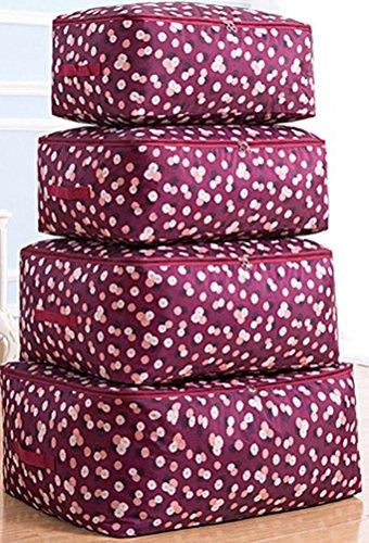 Kleideraufbewahrung Aufbewahrungstasche Bettdecken und Kissen Decken Betten Bettwaren Kissen perfekte Tragetasche oder Aufbewahrungstaschen auch für Stillshine (Set, hochrot Blume)