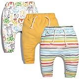 CuteOn 3 Pacco Unisex Bambini Bambino Piccolo Harem Pantaloni Cotone Elastico Trousers