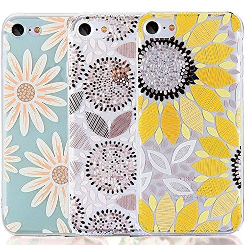 iPhone 6Plus Case, iPhone 6S Plus Hülle mit Blumen, [3er Pack] carterlily Watercolor Blumen Floral Pattern Soft Transparent Flexible TPU Wieder Schutzhülle für iPhone 6/6S Plus, Sonne, Blumen Portion Case Pack
