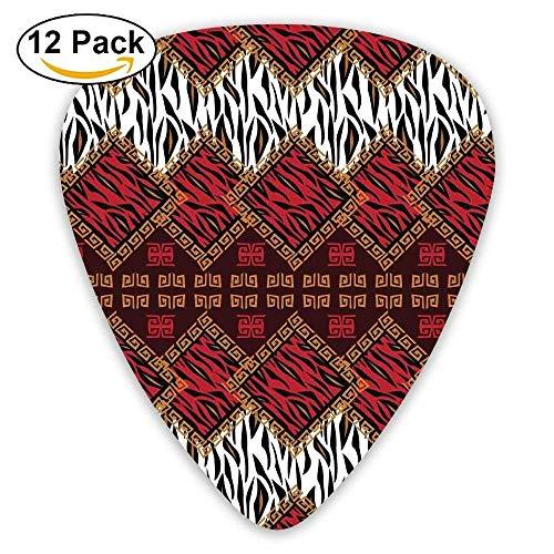 African Style Wild Animal Skin Stylized Stripes In Diamond Pattern Tribal Artwork Decorative Guitar Picks 12/Pack - Tribal Artwork