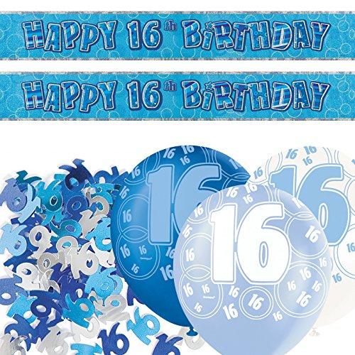 Blaue 16 (Dekorationsset zum 16. Geburtstag, mit Bannern, glitzerndes Blau)
