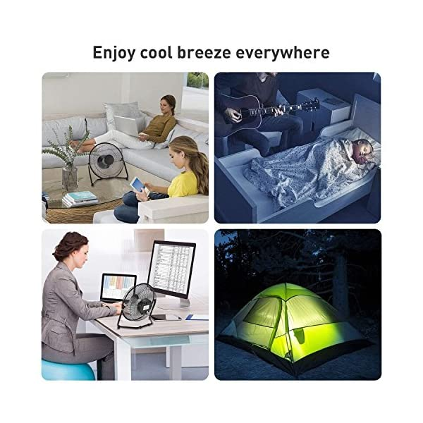 Escuela o Actividades al Aire Libre FITFIRST Ventilador de Mesa USB Bater/ía Recargable de 4400mAh Port/átil y Silencioso para Hogar Oficina