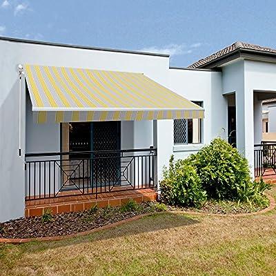 Markise Smartsun Classic 4x2,5m Polyester gelb grau weiß von Okoru auf Gartenmöbel von Du und Dein Garten