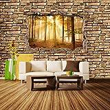 Fototapete 3D Optik - Wald am Morgen - Steinmauer Tapete Kunstdruck Wandbild Vliestapete XXL | XL 350 x 245 cm - 7 Teile | Vlies