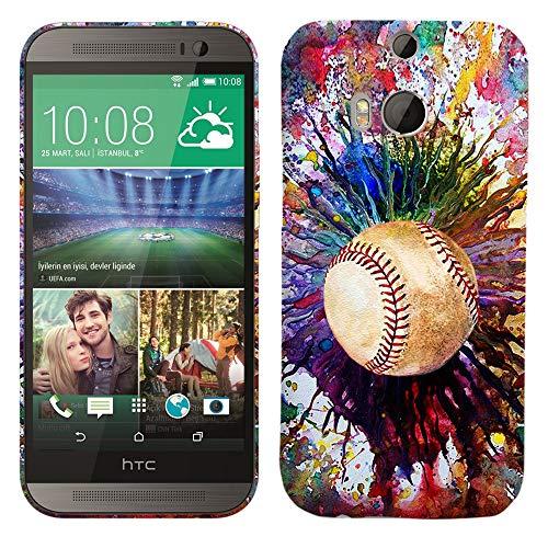 Glisten-Design Hard Kunststoff Schutzhülle für HTC One M8-Vintage Farbe Baseball Muster Bedruckt Slim Profil Niedlichen Snap auf der Rückseite Cover (Htc M8 Harten Fall)