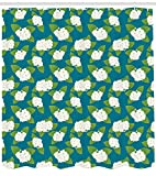 ABAKUHAUS Jazmín Cortina de Baño, Flores De La Boda Exóticos, Material de Colores Vibrantes Estampas Personalizadas Antimoho, 175 x 240 cm, Verde Lima Blanca Azul Petróleo