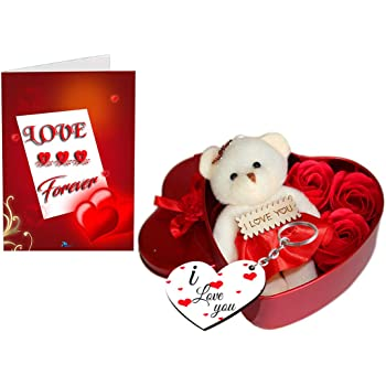 Sky Trends Fabric Heart-shaped Box with Teddy and Roses and Wooden Keychain(Red)