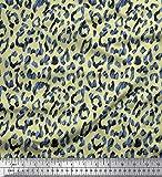 Soimoi Beige gasa de viscosa Tela leopardo piel de animal tela estampada de 1 metro 42 Pulgadas de ancho