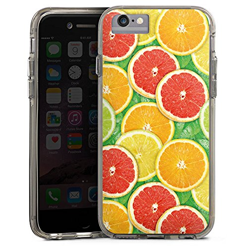 Apple iPhone X Bumper Hülle Bumper Case Glitzer Hülle Lemon Zitrone Sommer Trend Bumper Case transparent grau