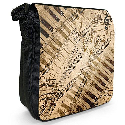 Vintage grunge Music Notes piccolo nero Tela Borsa a tracolla, taglia S Music Notes & Piano Keys