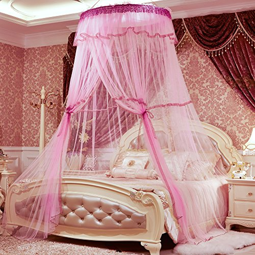 SINOTOP Mosquito Net Bed Princess Pastoral Canopy Lace Dome Netting Bedding Double Bed Round Hoop Bed Bet Netting Mosquito Crib (Pink)
