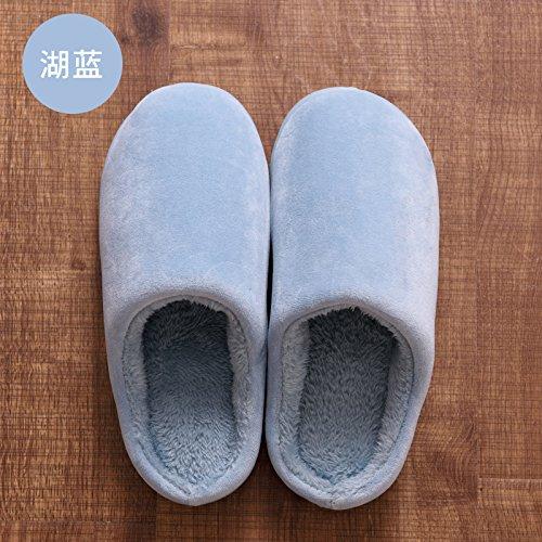 DogHaccd pantofole,Autunno Inverno uomo confezione con cotone pantofole home soggiorno caldo con spesse non-slip indoor e outdoor grandi numeri di scarpe da donna Il lago blu3