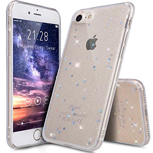 Kompatibel mit iPhone 8 Hülle,iPhone 7 Hülle,Shiny Glänzend Bling Glitzer Sterne Pailletten Diamond Diamant TPU Silikon Hülle Tasche Case Durchsichtig Handyhülle Schutzhülle für iPhone 8/7,Klar A