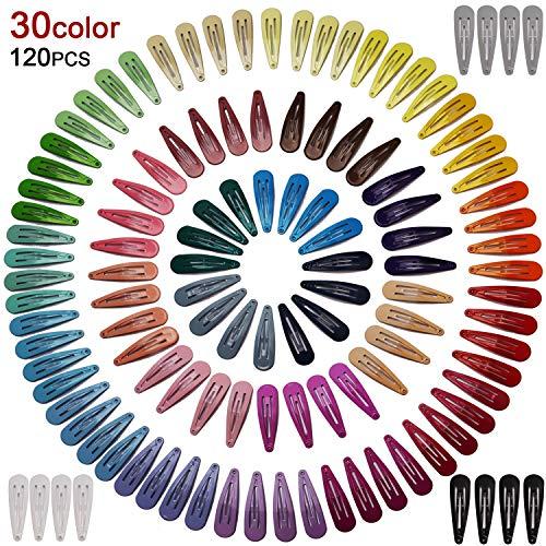 AIEX 120 Stück Haarspangen Verschiedene Farben Snap Haarspangen Haarklammer für Kinder Mädchen Frauen (30 Farben)