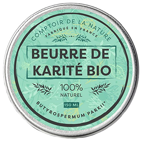 Comptoir de la Nature - Burro di karité Bio, puro, idratante e nutriente, prodotto in Francia, 100% naturale, inodore, senza conservanti, raffinato, 150ml