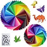 Sunerly Lot de 200 feuilles de papier origami 2 tailles, 50 couleurs vives recto pour travaux manuels, lot de 100 yeux mobile
