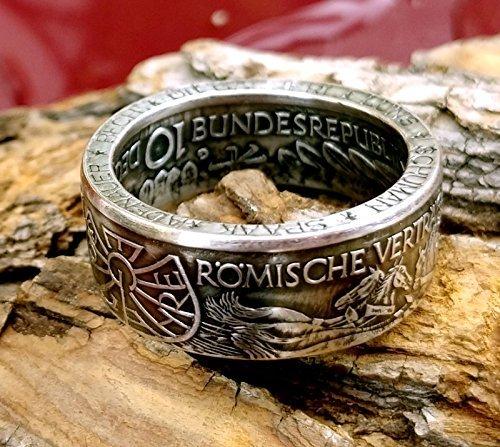 Coinring, Münzring, Ring aus 10 DM Gedenkmünze 1987, 30 Jahre Römische Verträge, 925er Silber - Double Sided coin ring, Größe 70 (22.3), handgeschmiedetes Unikat