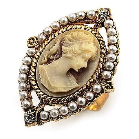 Bague Vintage Camée Perle Filigrane (Ton Or)
