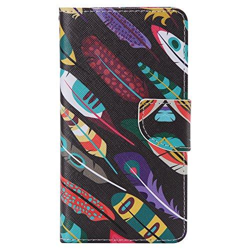 Nancen Samsung Galaxy Note 4 / SM-N9100 (5,7 Zoll) Hülle, Painted Muster Flip Case PU Leder Handytasche Cartoon Schreiben Landschaft Bunt Blumen Tier Praktisches Design Wallet Etui Lederhülle Handy Schutzhülle (Feder Brille Rahmen Regenbogen)